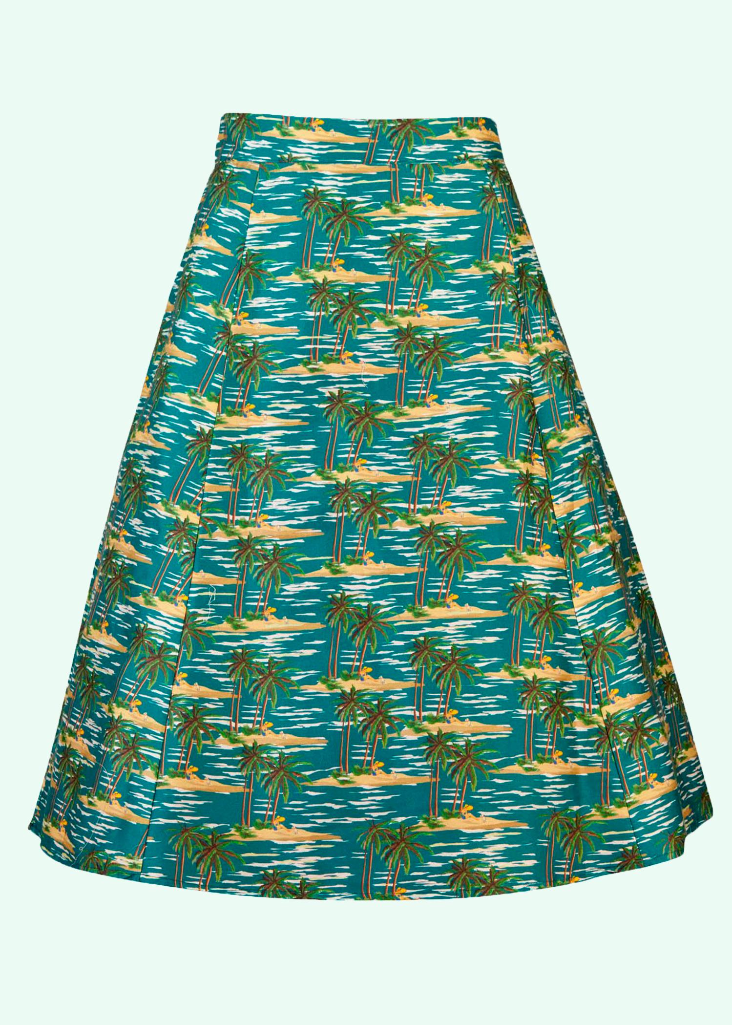 Aline nederdel fra Palava i bomuld med retro print at palmer