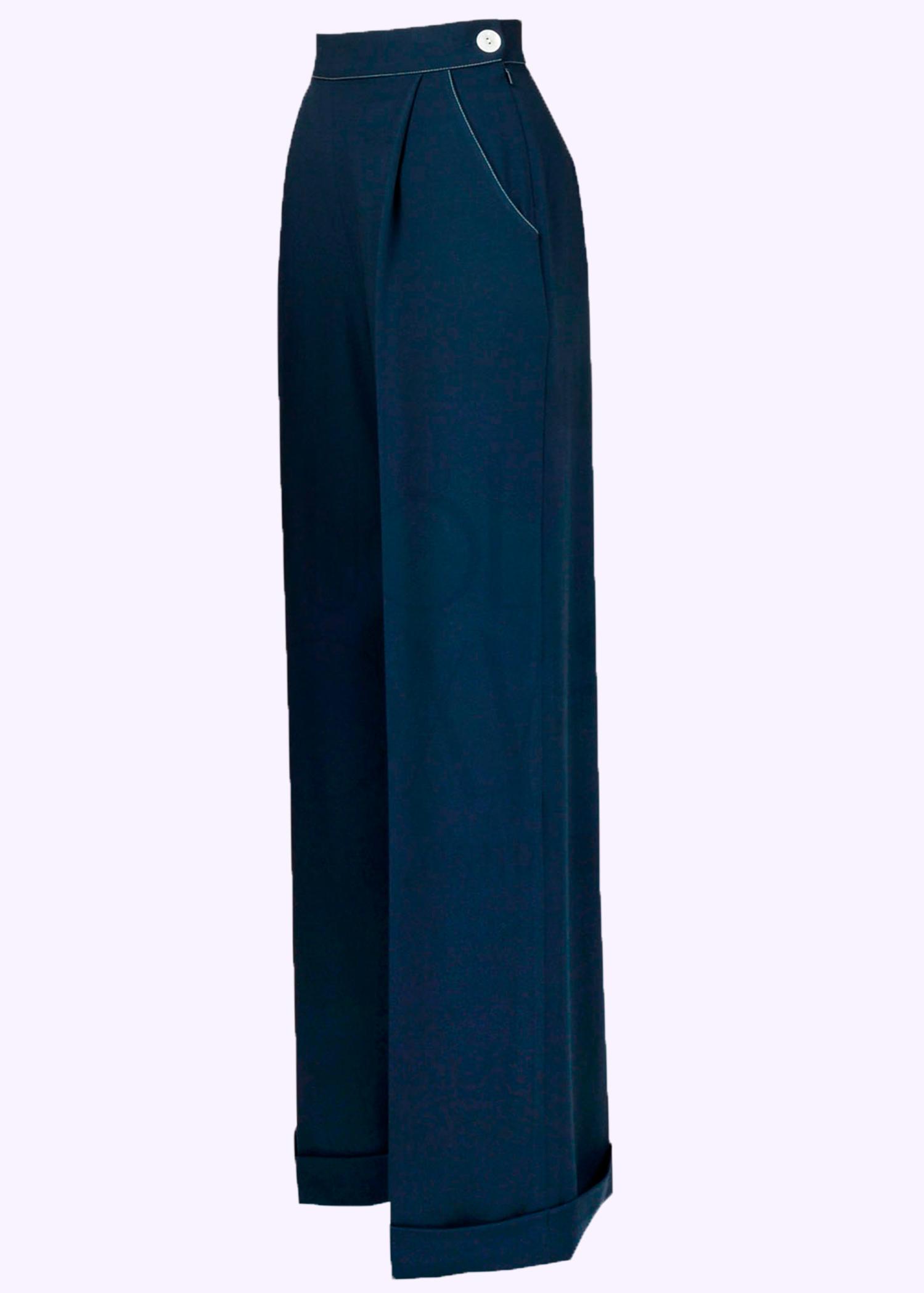 1940'er stils bukser med brede ben i navy blå fra The House Of Foxy