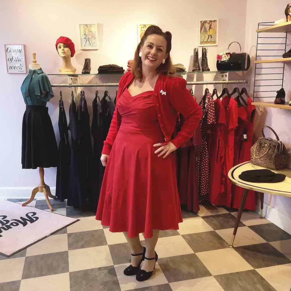 Klassisk 50'er swingkjole i rød fra Stop Stsring