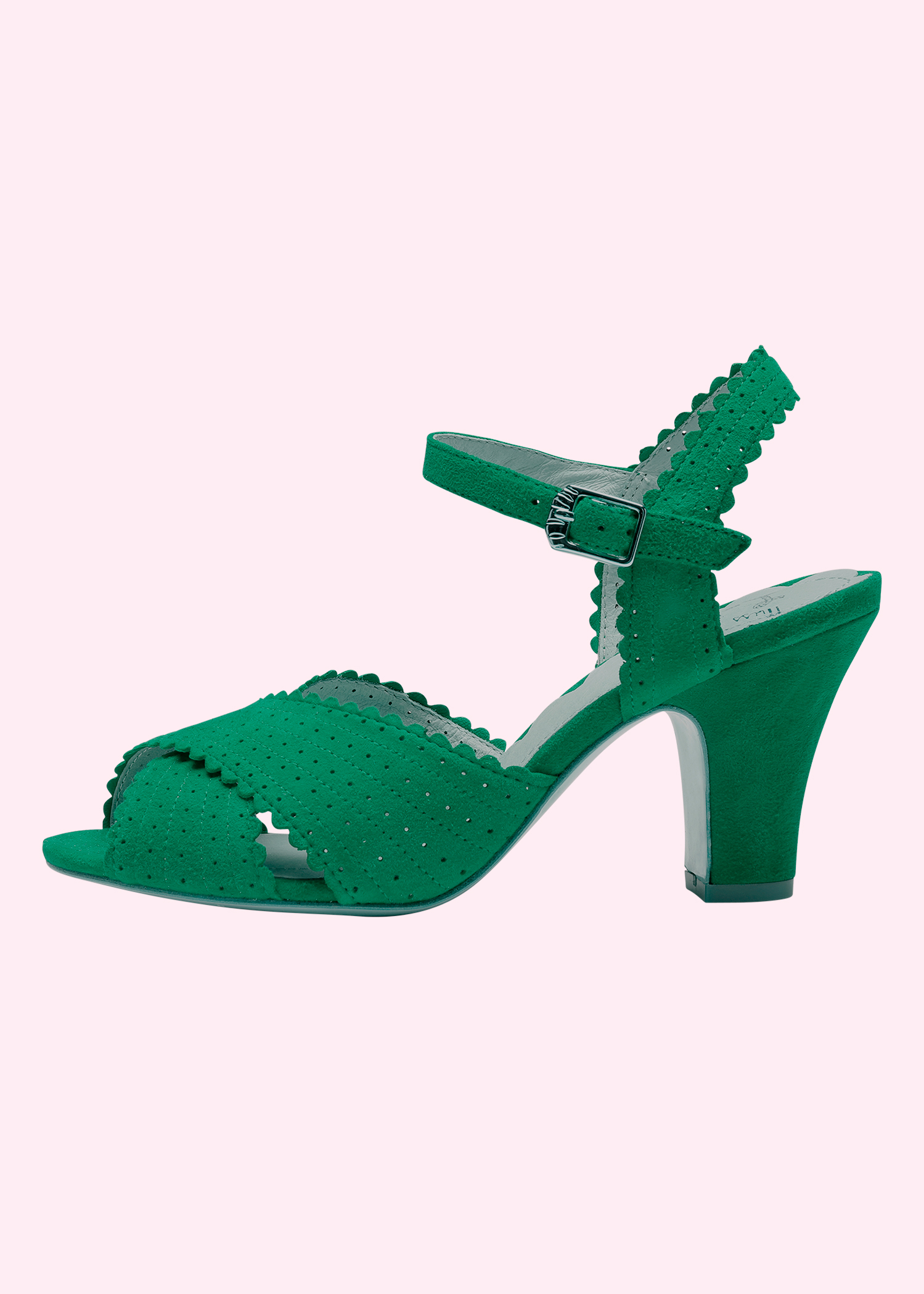 Miss L Fire Beatriz sandal in green suede exclusively for Mondo Kaos