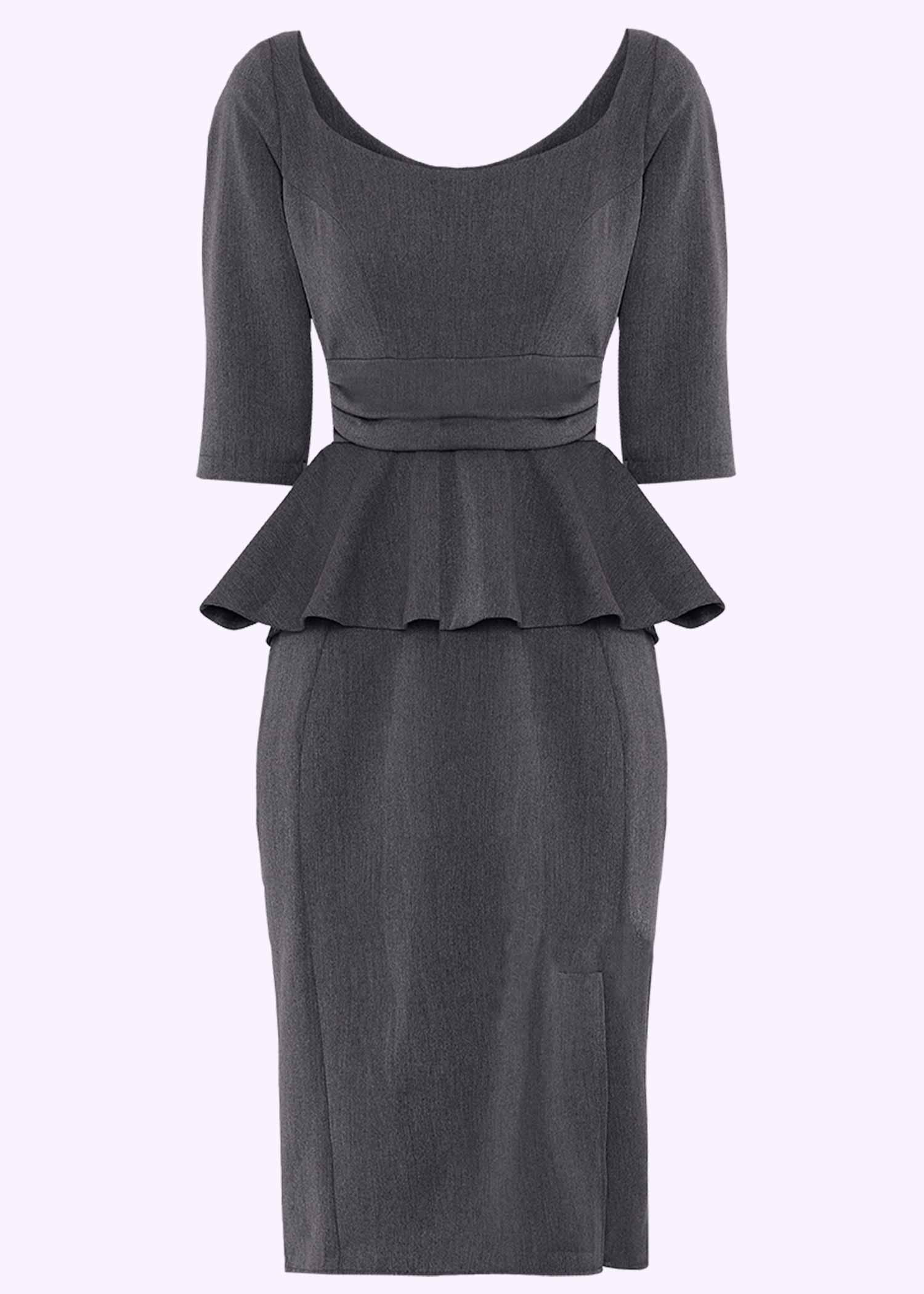 Grå figursyet kjole med peplum-skirt fra Miss Candyfloss