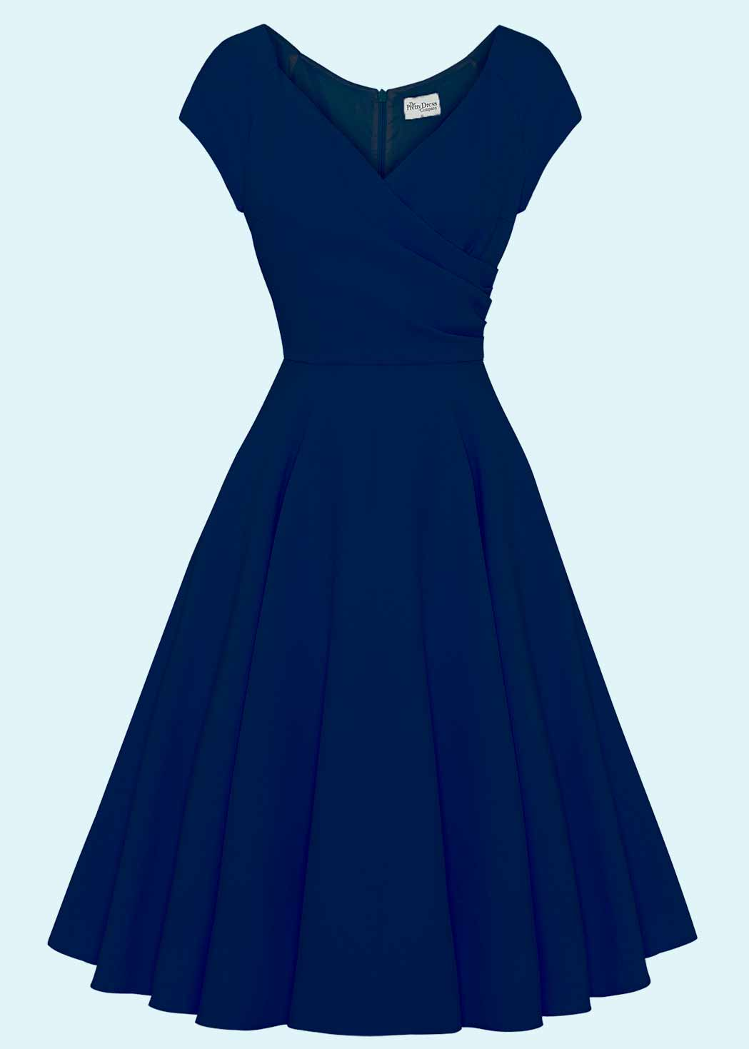 50'er stils swing kjole i navy blå  fra The Pretty Dress Company