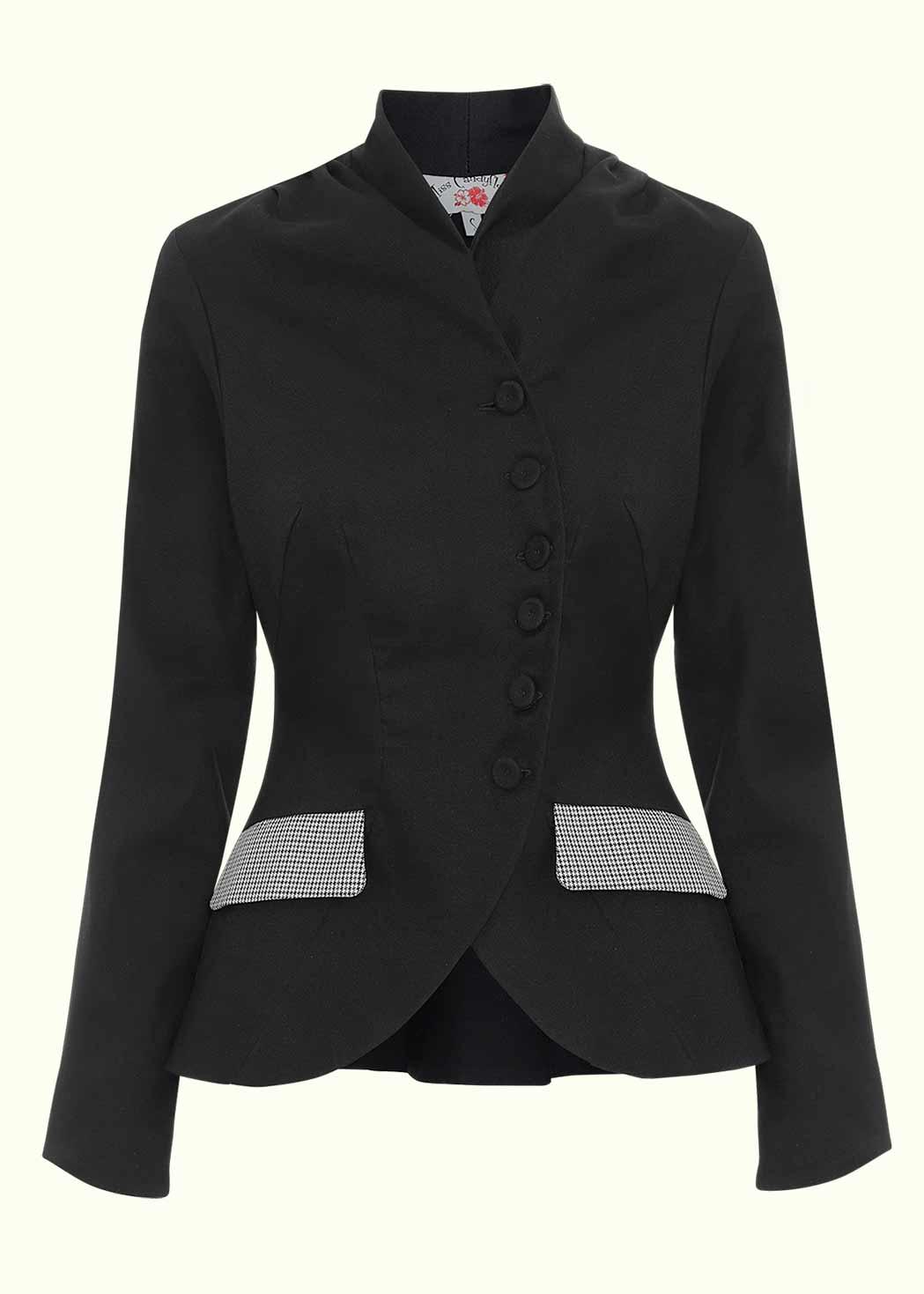 Navy blue retro blazer jacket from Miss Candyfloss