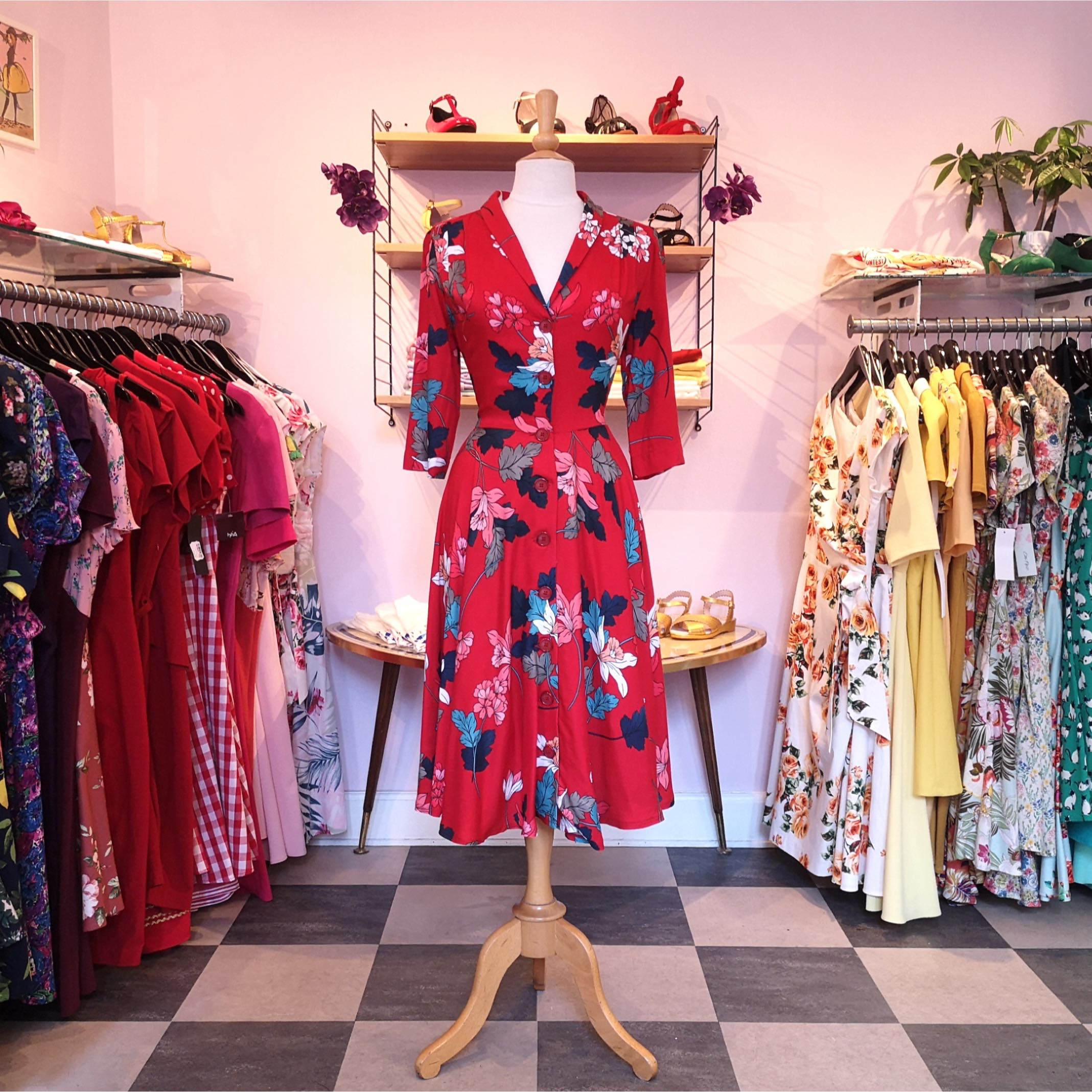 Red retro 1950s style shirt dress with flowers