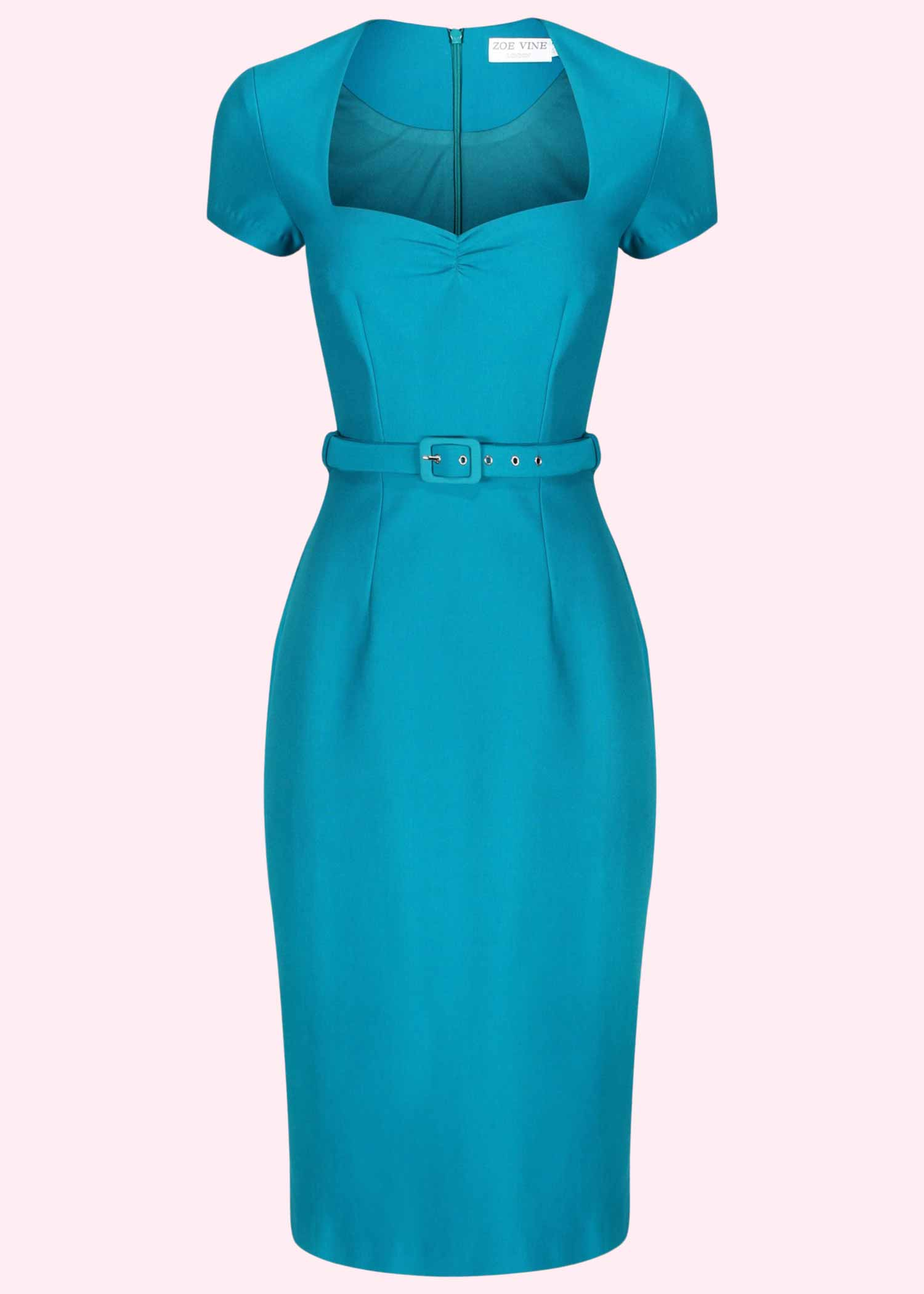 Turquoise pencil dress in 50s style from Zoe Vine