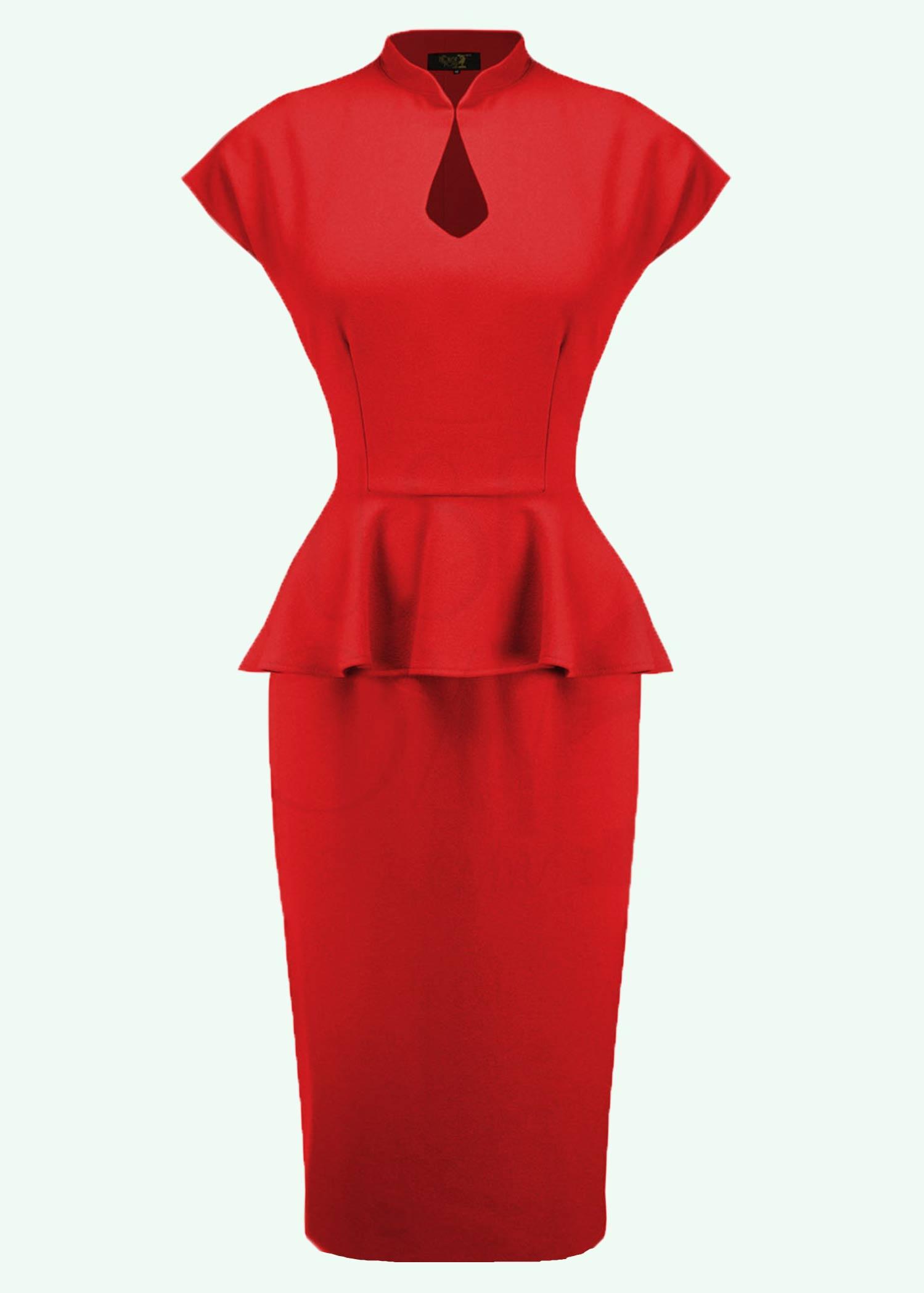 Lana pencil kjole i rød med peplum-skirt fra The House Of Foxy