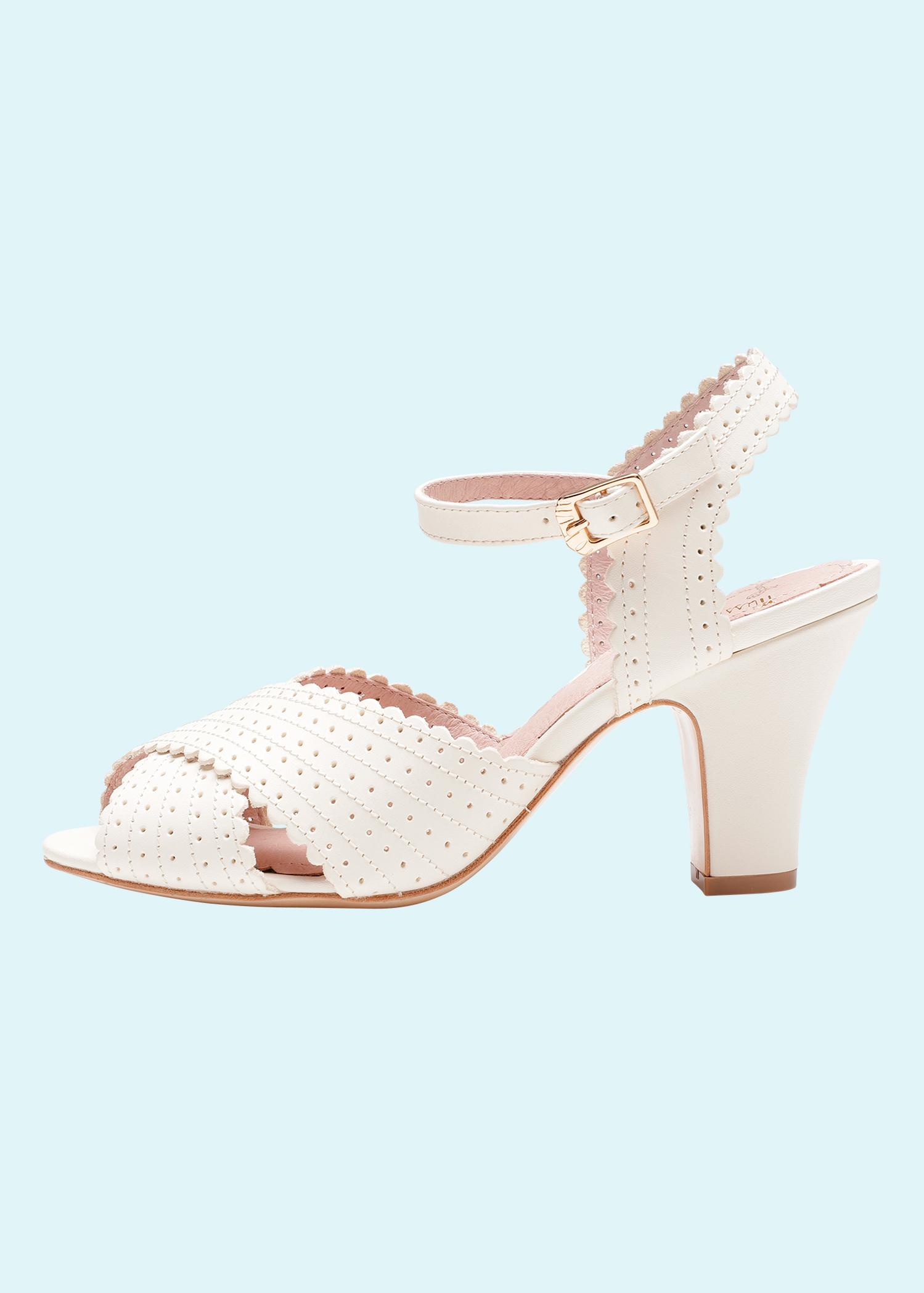 50er vintage stils brude sko i hvid fras Miss L Fire