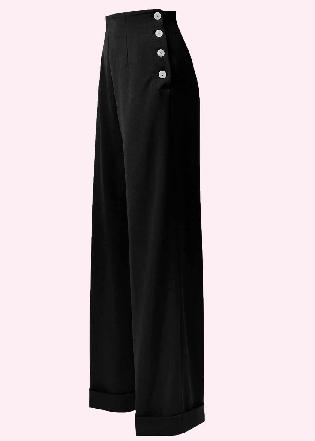 Sorte bukser med brede ben og høj talje fra The House Of Foxy