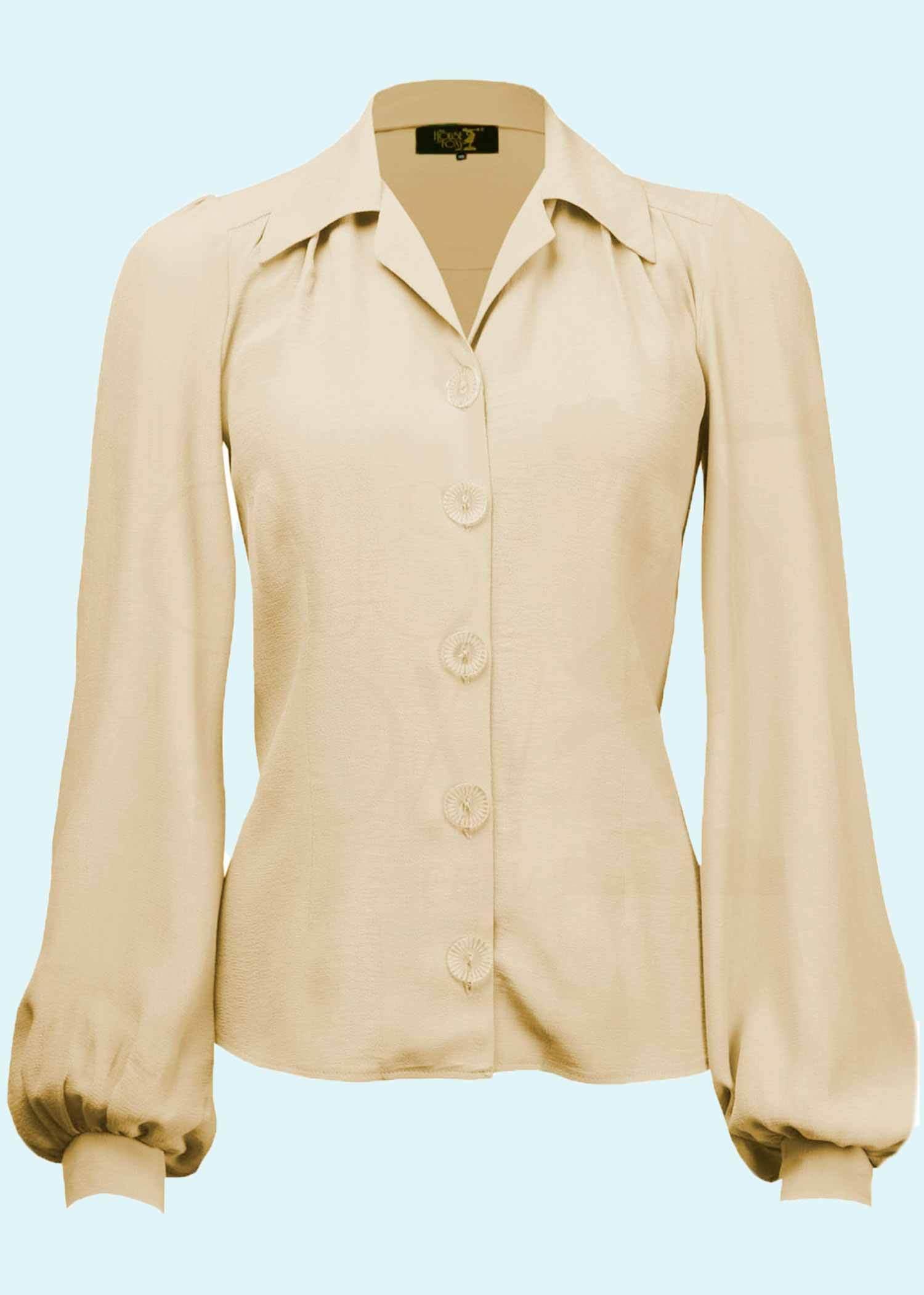 Creme hvid langeærmet skjorte i vintage stil fra The House Of Foxy