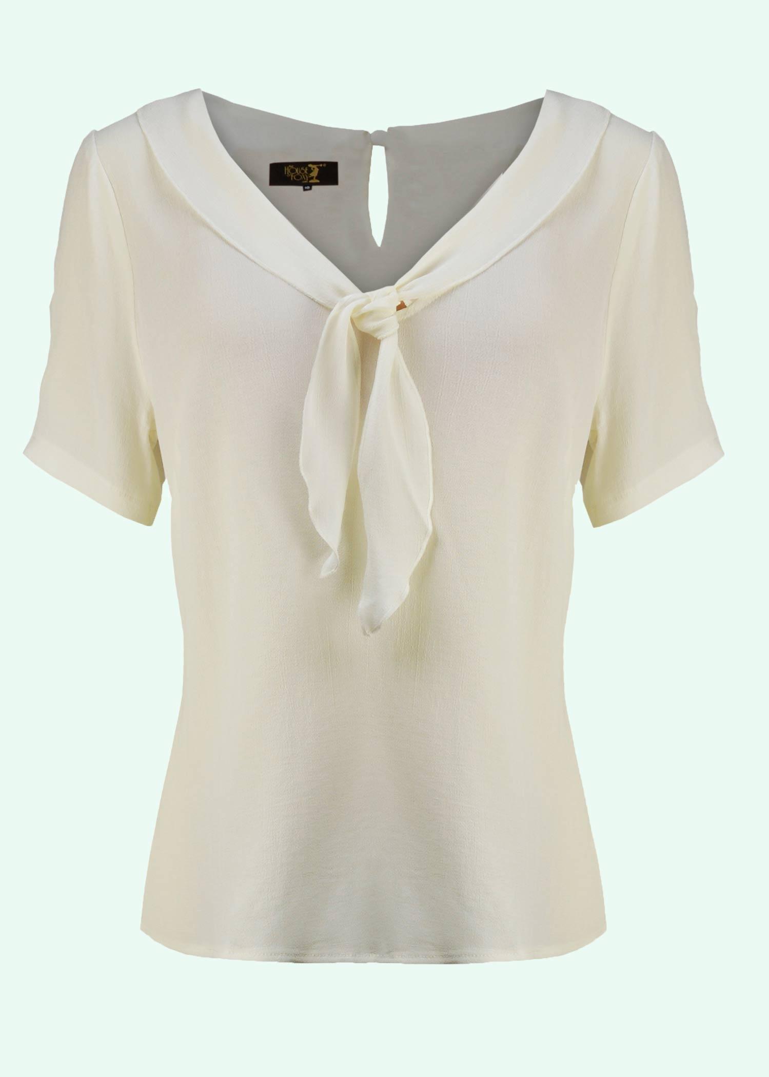 Vinatge stils bluse i creme hvid fra The House Of Foxy
