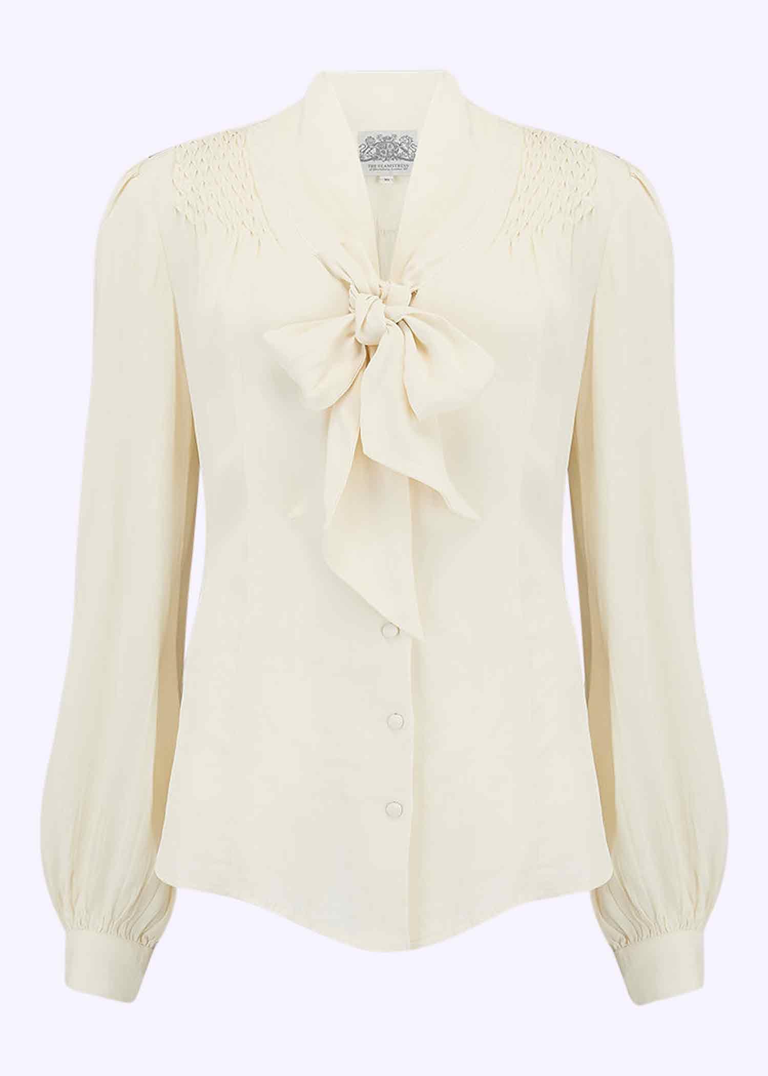 1940'er inspireret skjortebluse med pussy bow fra The Seamstress Of Bloomsbury