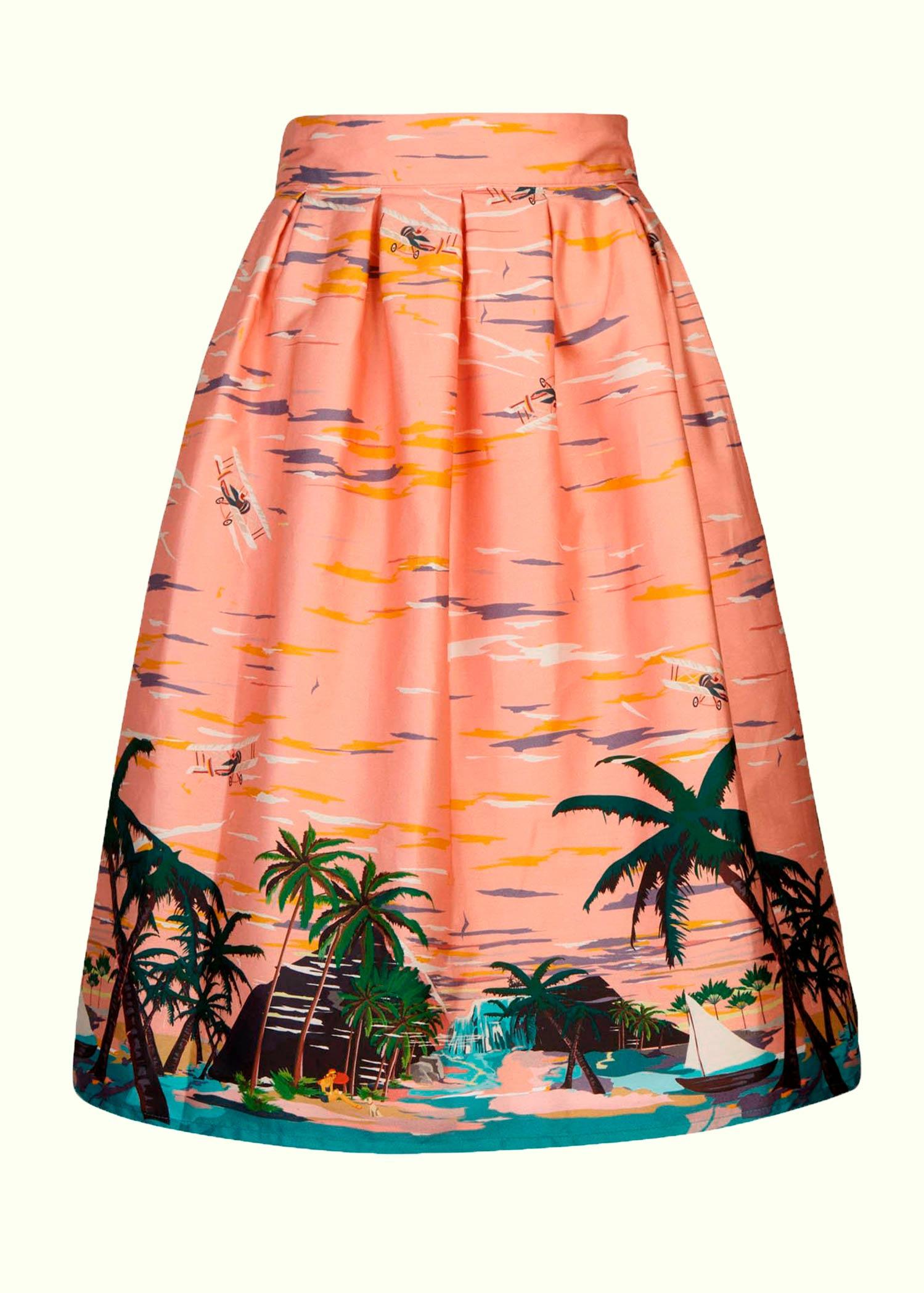 Nederdel fra Palava i fint retro print af palmer, skibe og strand