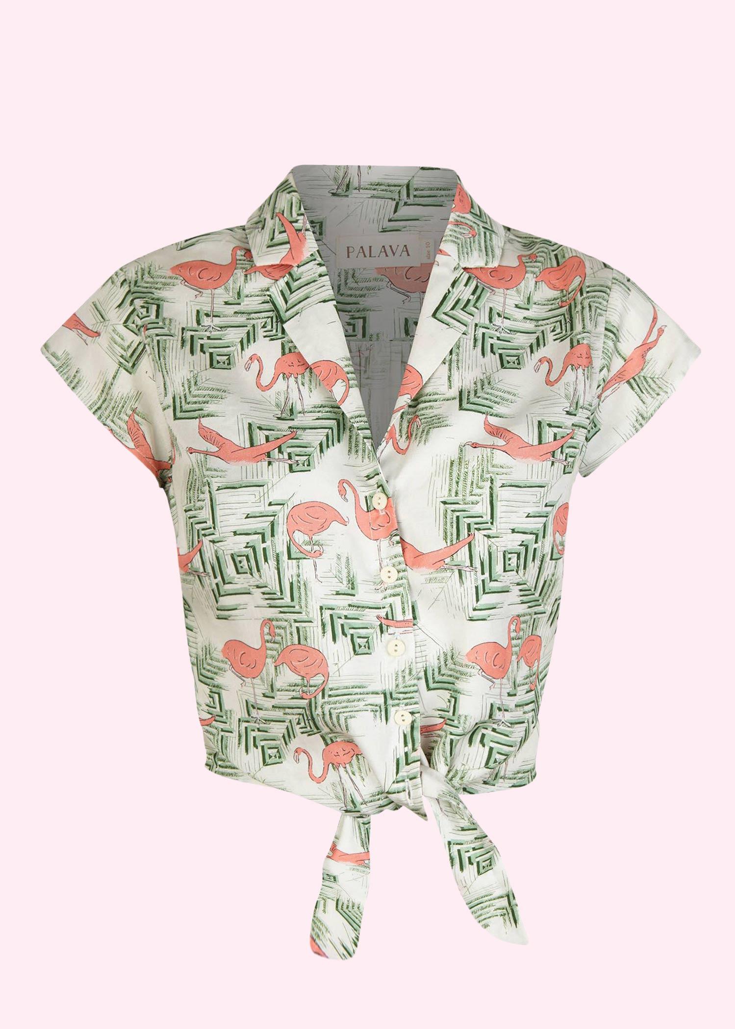 Bindeskjorte i 50er stil med flamingo print fra Palava
