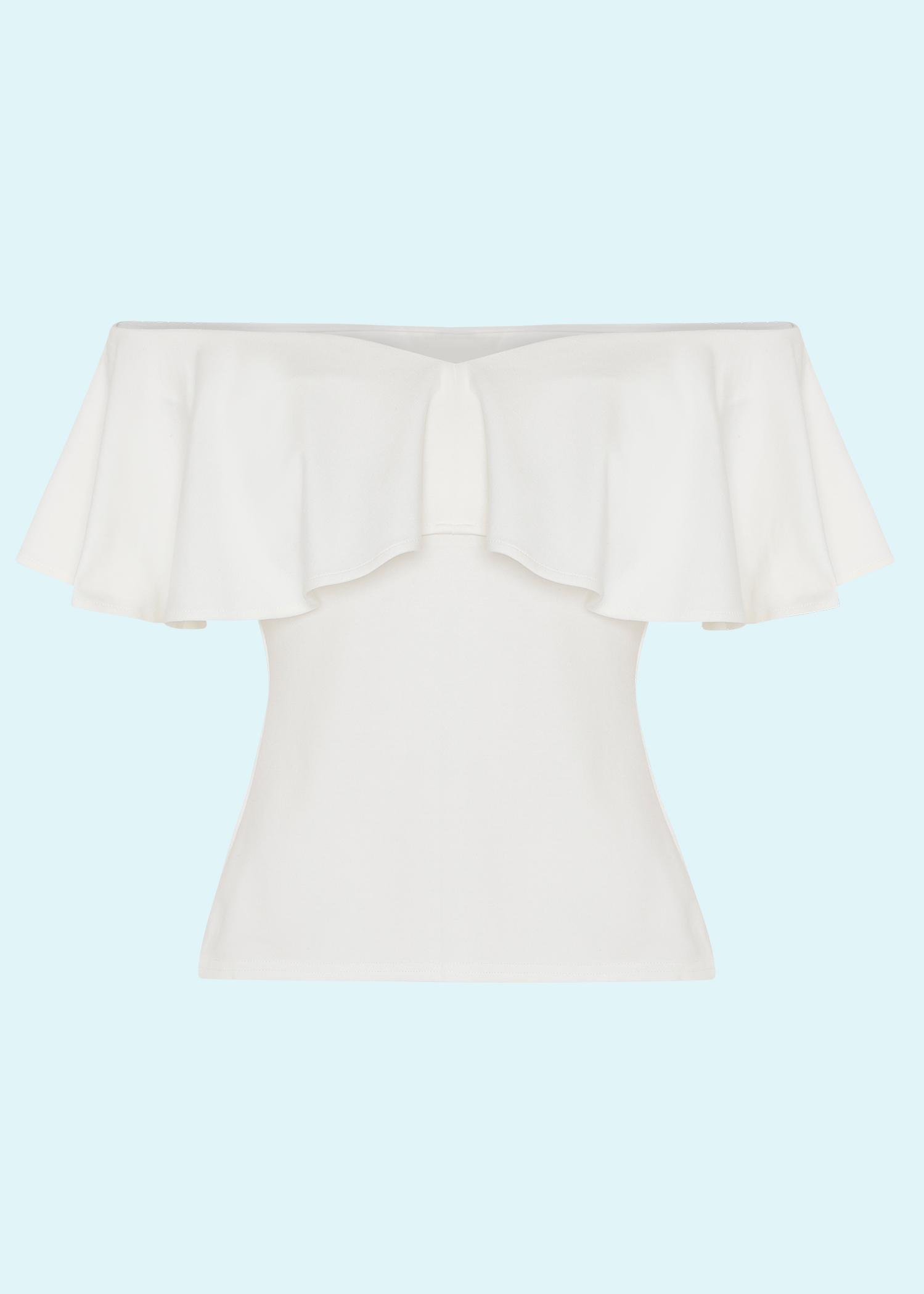 Hvid Off Shoulder Ruffle top fra Unique Vintage