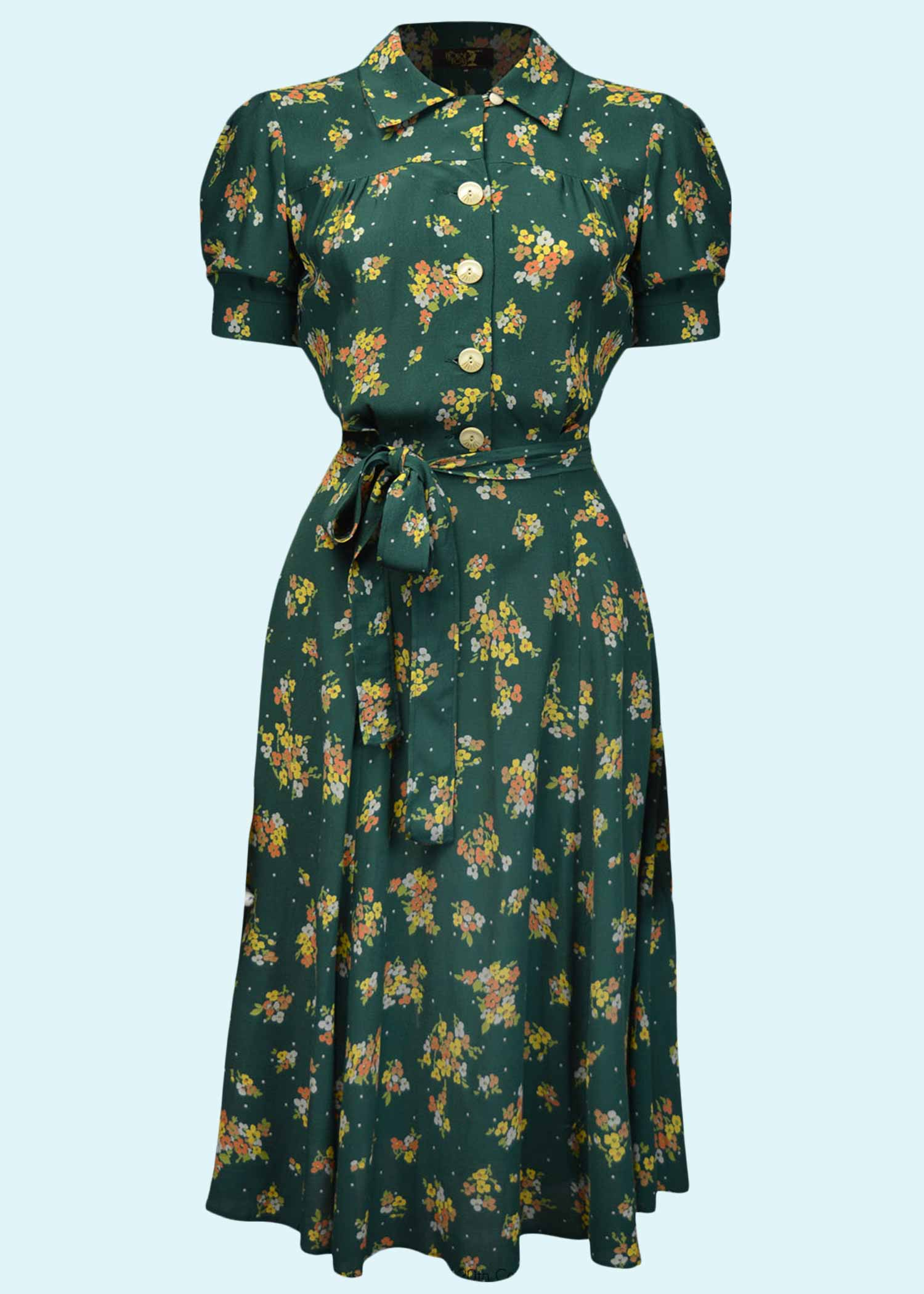 Grøn blomstret skjortekjole fra House Of Foxy