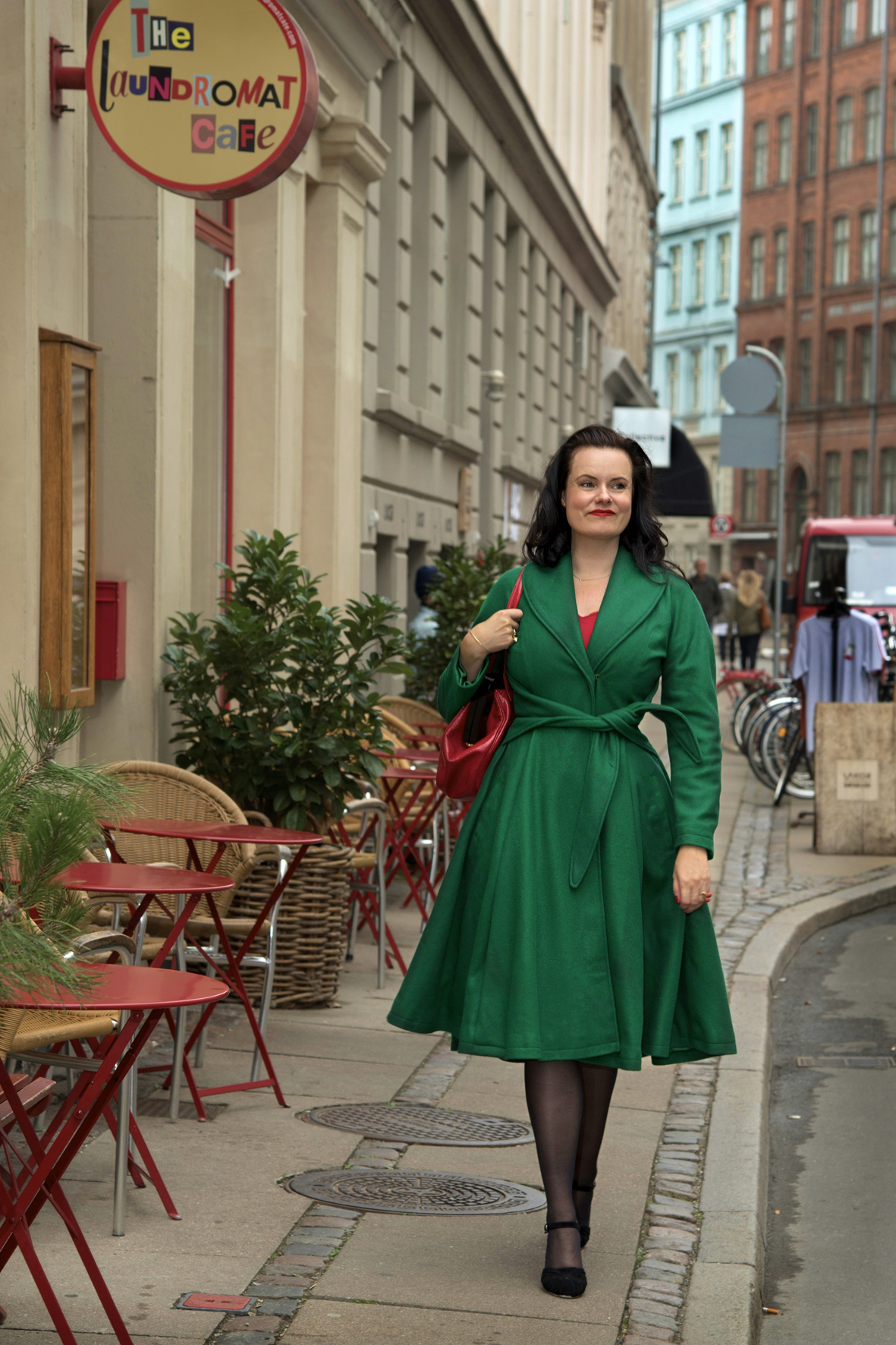 Author Leonora Christina Skov in our vintage inspired winter coat