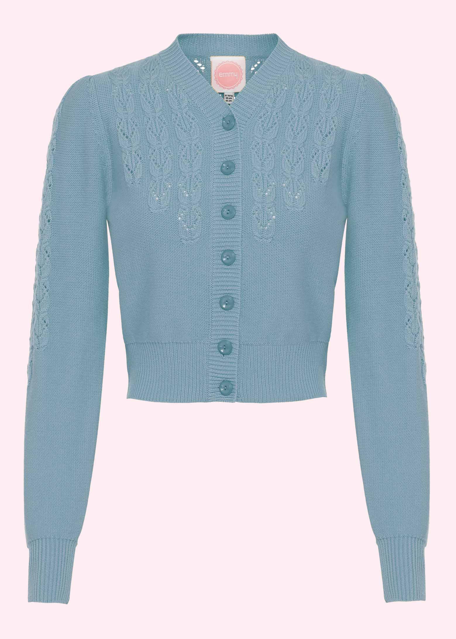 Waist cardigan in dusty blue from Emmy Design