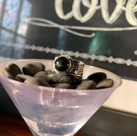 Black Star Diopside Men's Ring