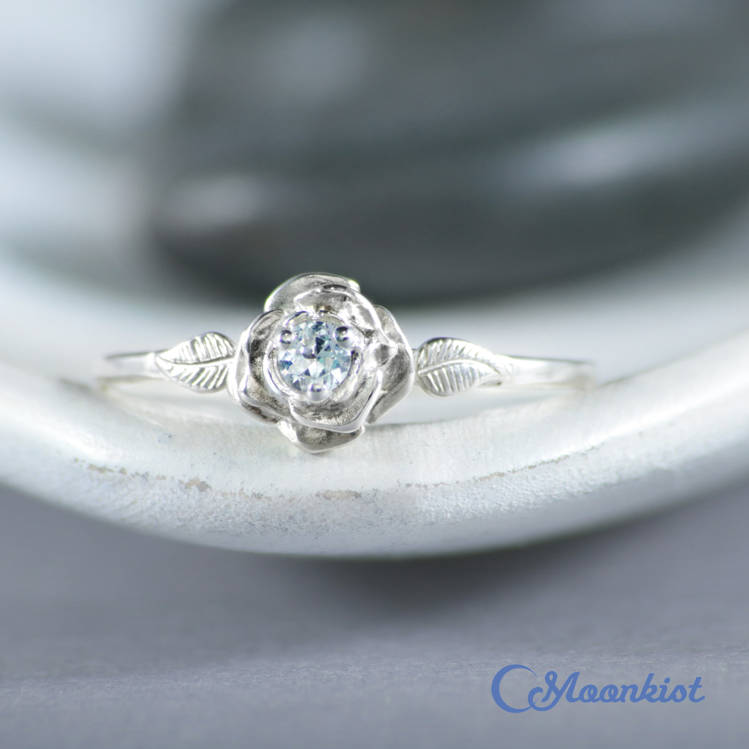 14K White Gold Rose Ring