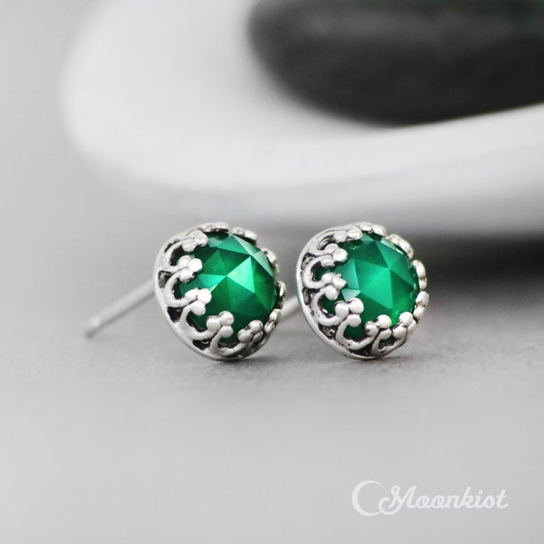 Rose Cut Green Onyx Stud Earrings