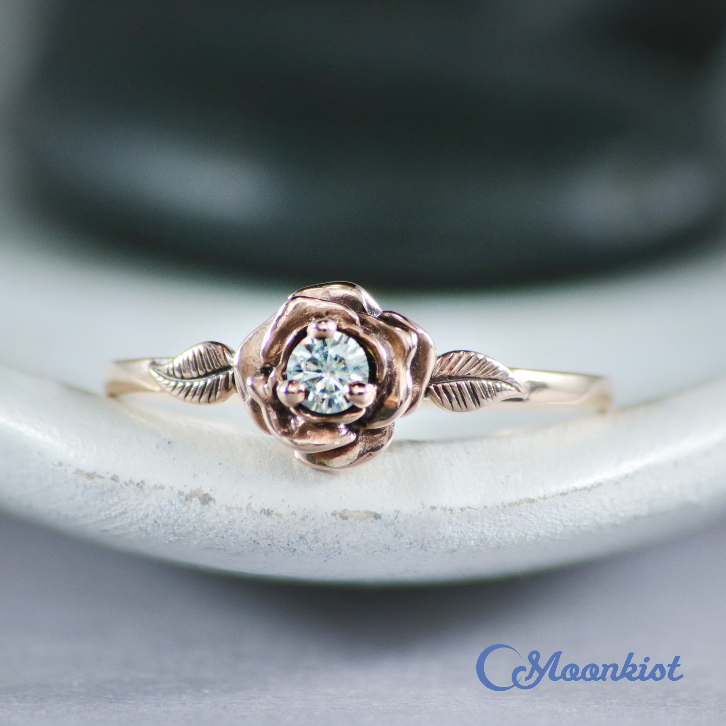 14K Rose Gold Rose Ring