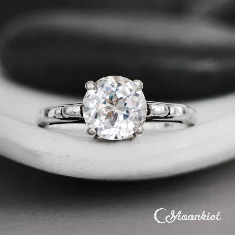 White Sapphire Scroll Engagement Ring
