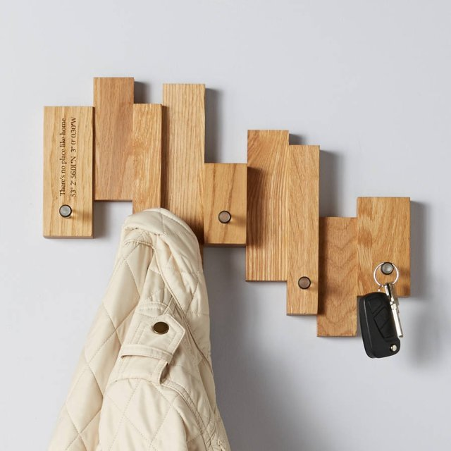 Personalised Oak Blocks Coat And Key Rack Story