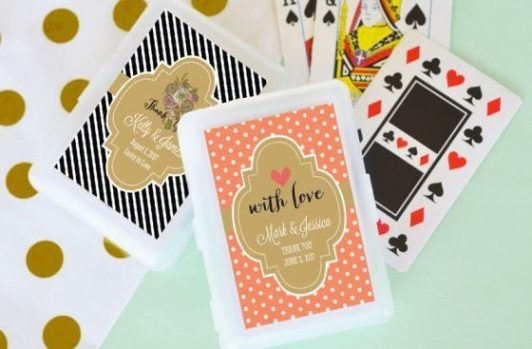 playing card wedding favours