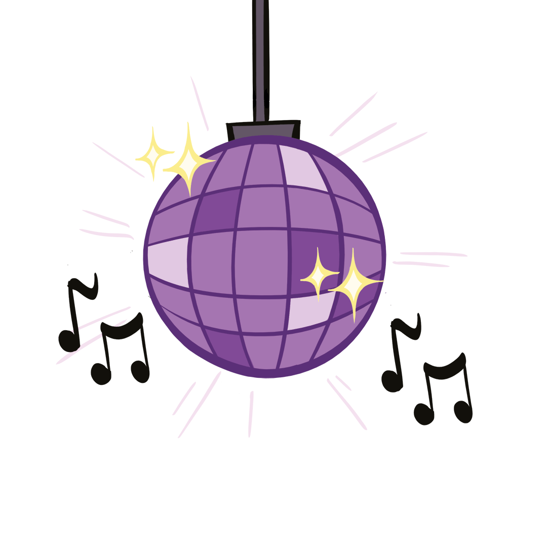 illustrated disco ball with musical notes