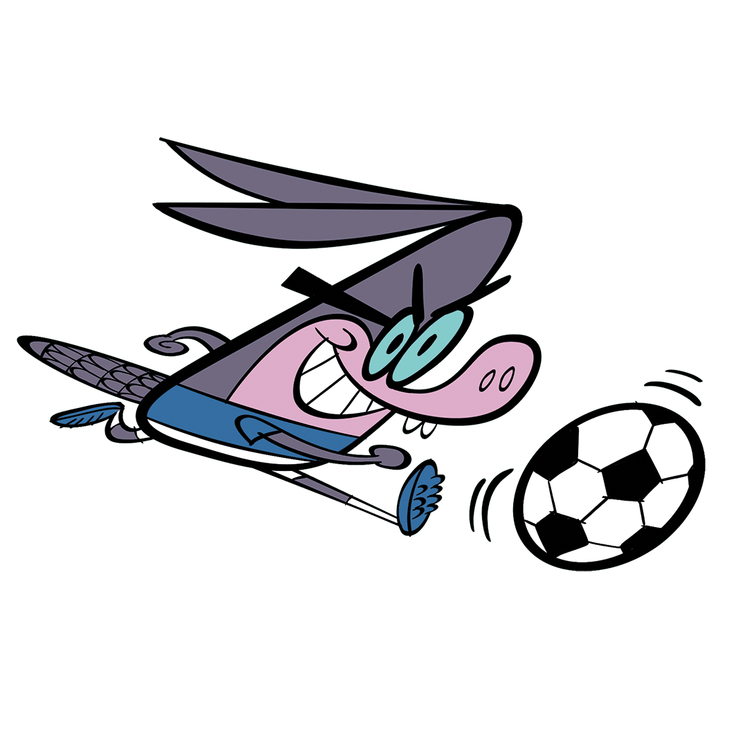 illustrated character playing soccer