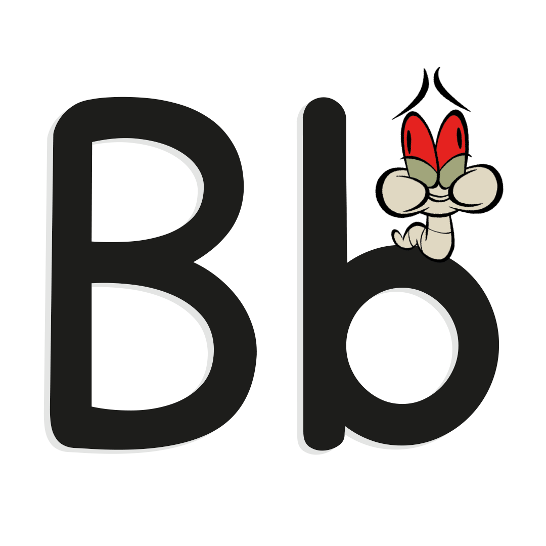 letter b with illustrated worm