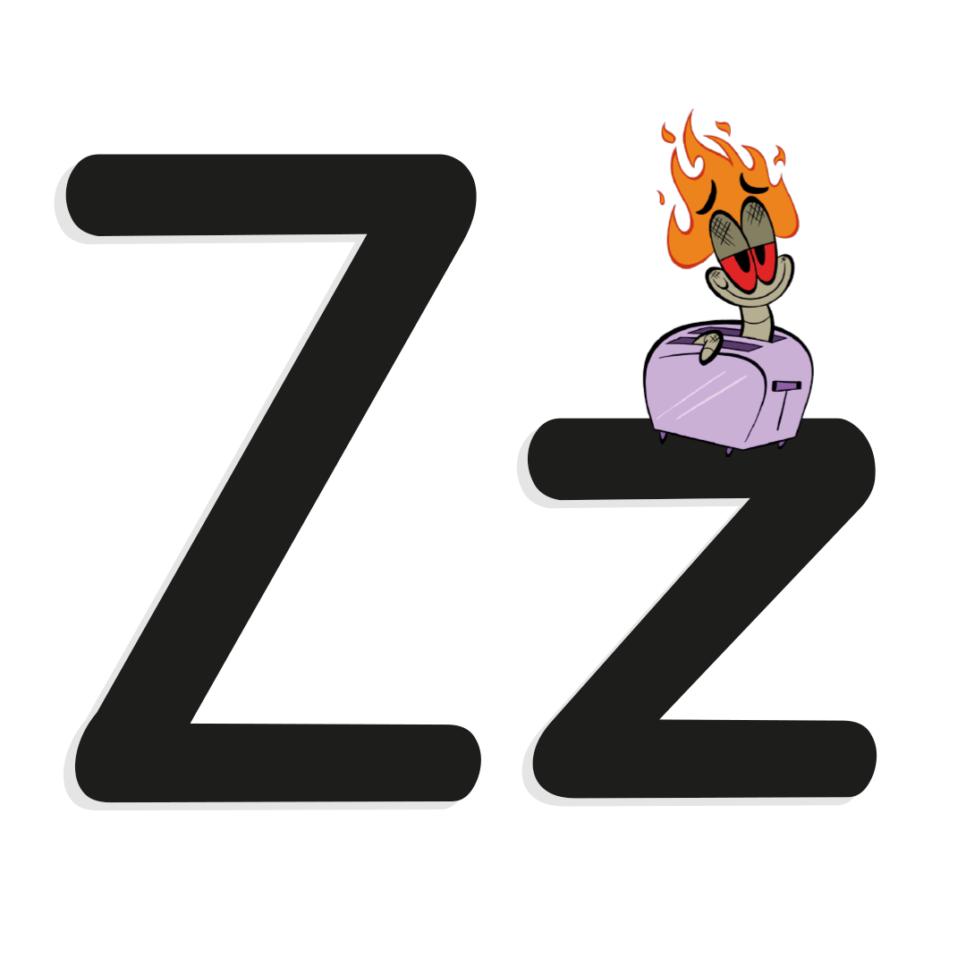 the letter z with illustrated worm