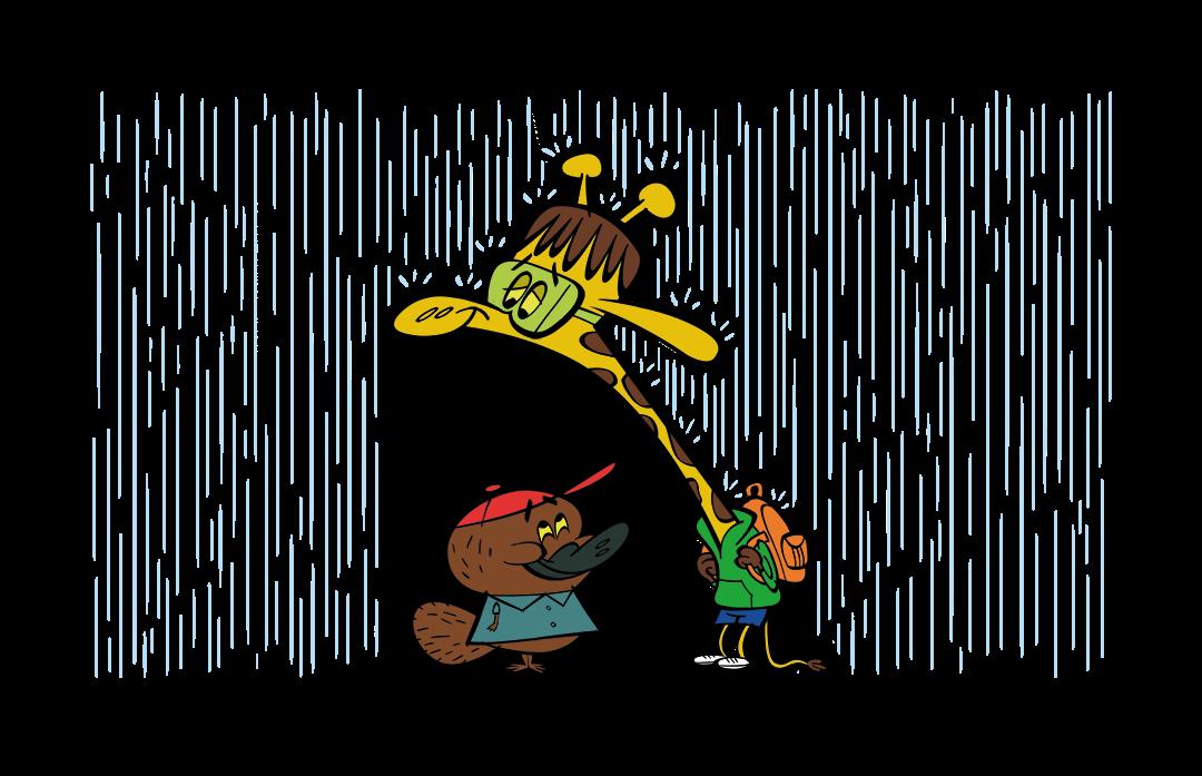 illustrated giraffe shielding platypus from rain