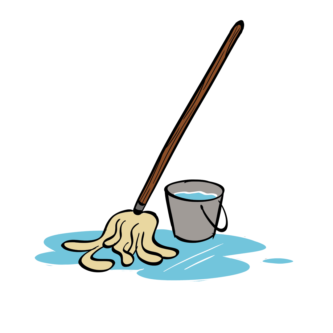 illustrated mop and bucket