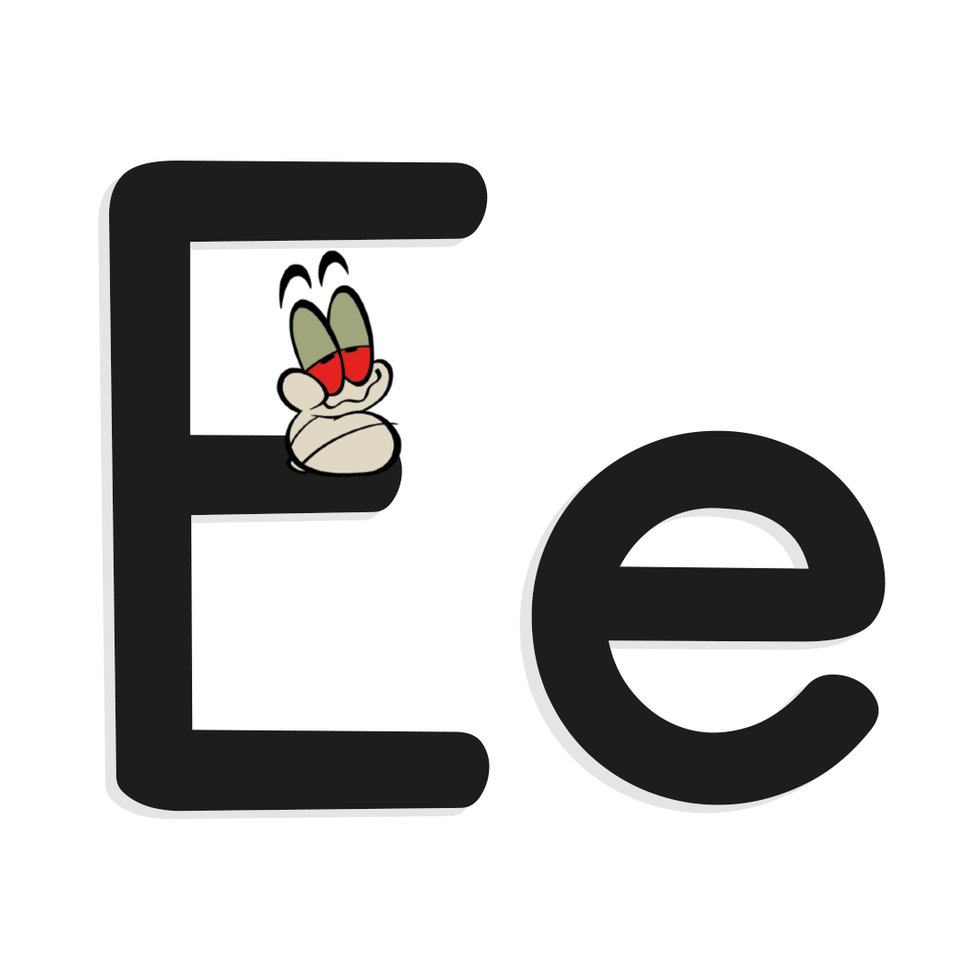 illustrated letter e with worm