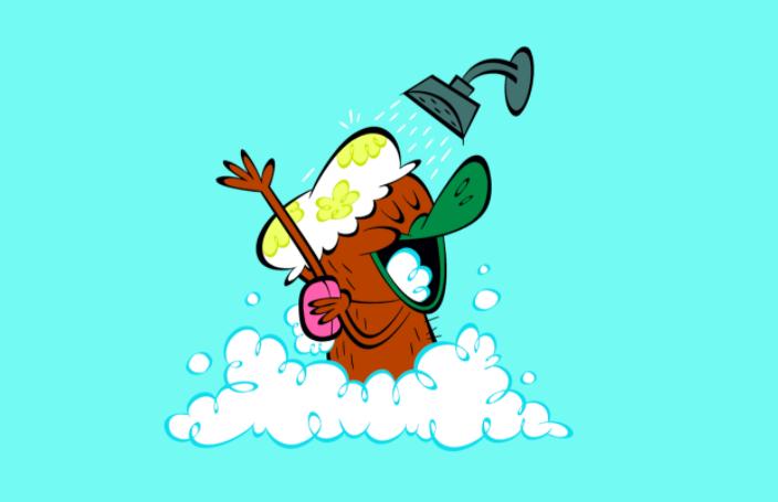 Plato the platypus having a shower
