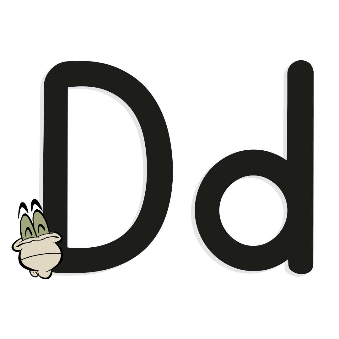 illustrated letter d with worm