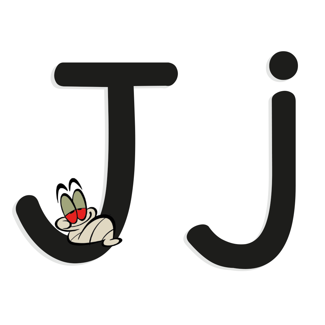 the letter j with illustrated worm