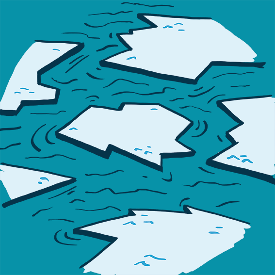 illustrated iceberg pieces