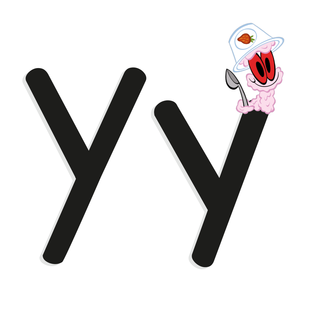 the letter y with illustrated worm