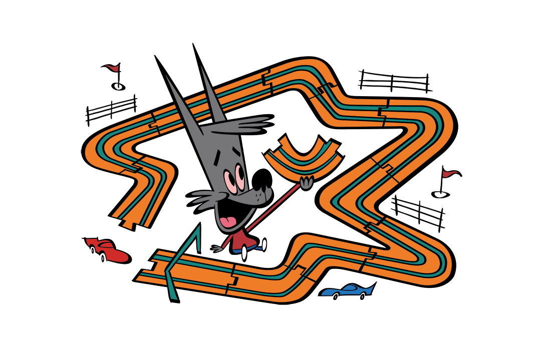 illustrated dog assembling a toy racetrack