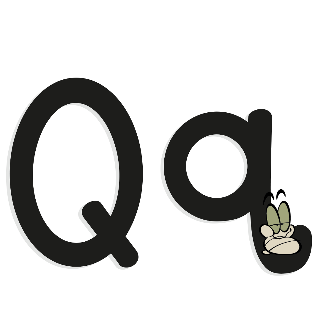 the letter q with illustrated worm