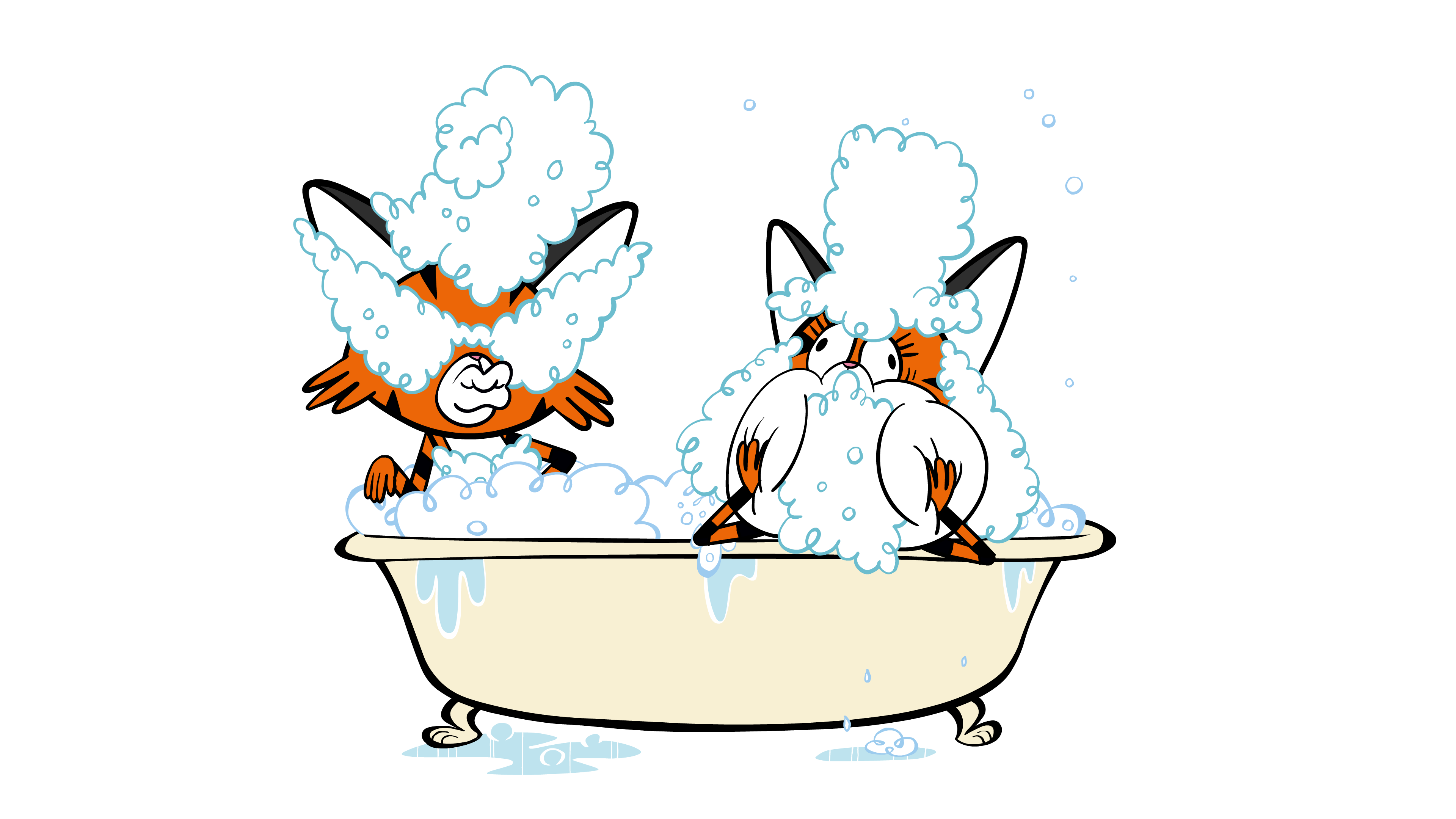 two cats in a bubble bath