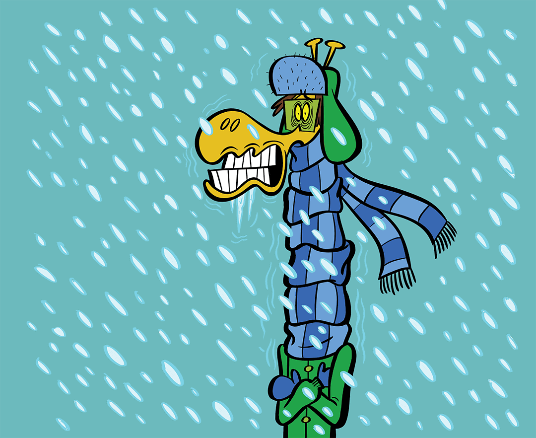 cold giraffe wearing a hat and scarf in the snow