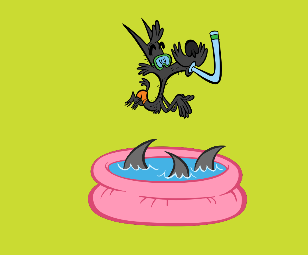 illustrated character jumping into a pool full of sharks
