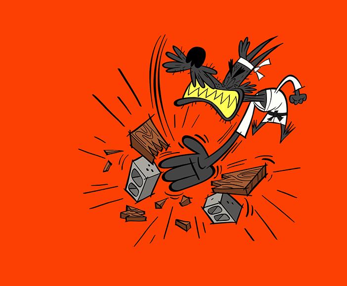 illustrated dog karate-chopping