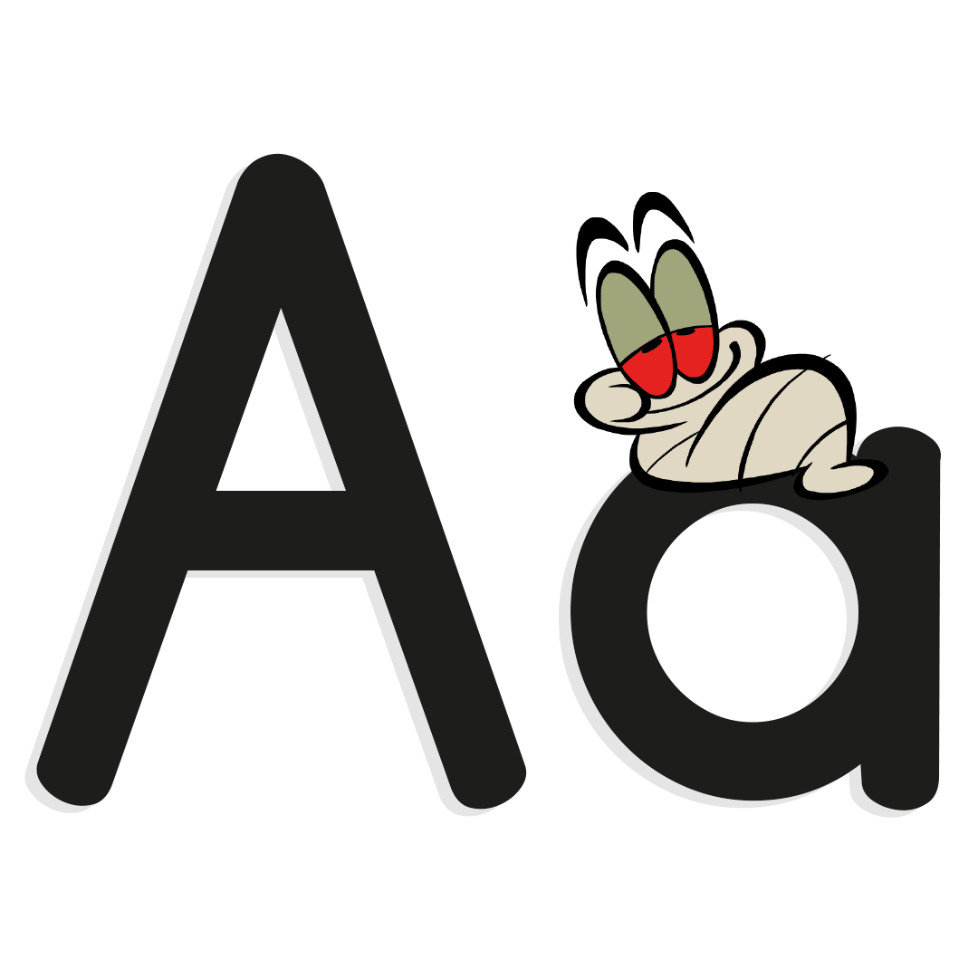 letter a with illustrated worm