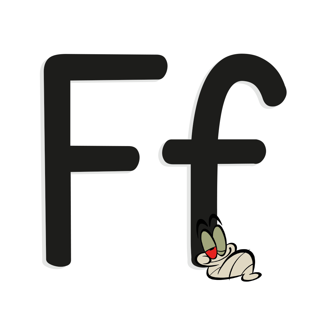 illustrated letter f with worm