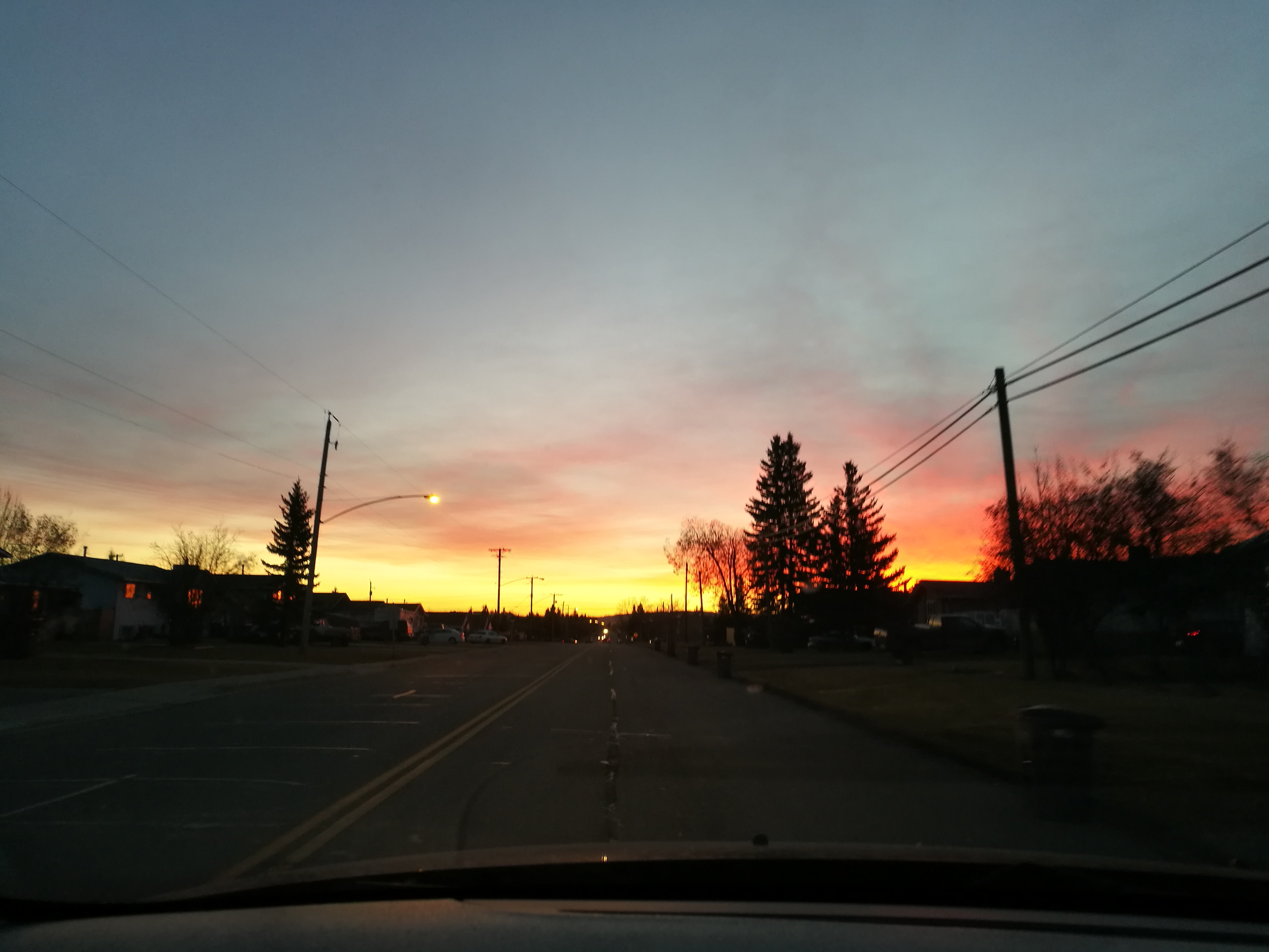 view from the car of sunrise