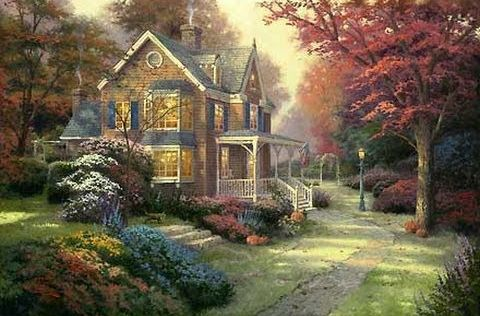painting of a house among the trees